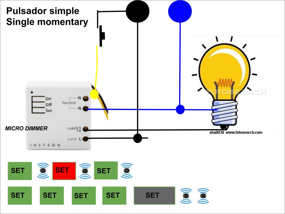 Micro módulo dimmer insteon con pulsador