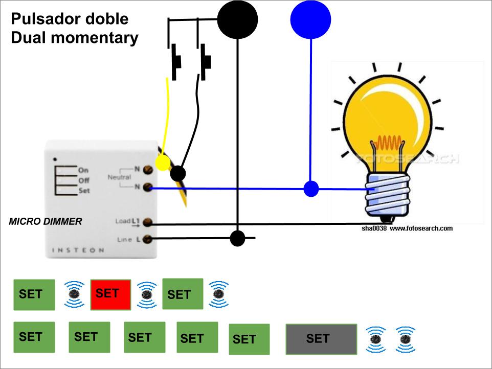 Micro módulo Insteon dimmer con doble pulsador