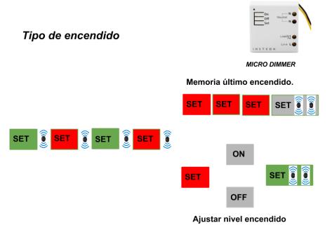 Micromódulo Insteon Dimmer, ajuste tipo de encendido