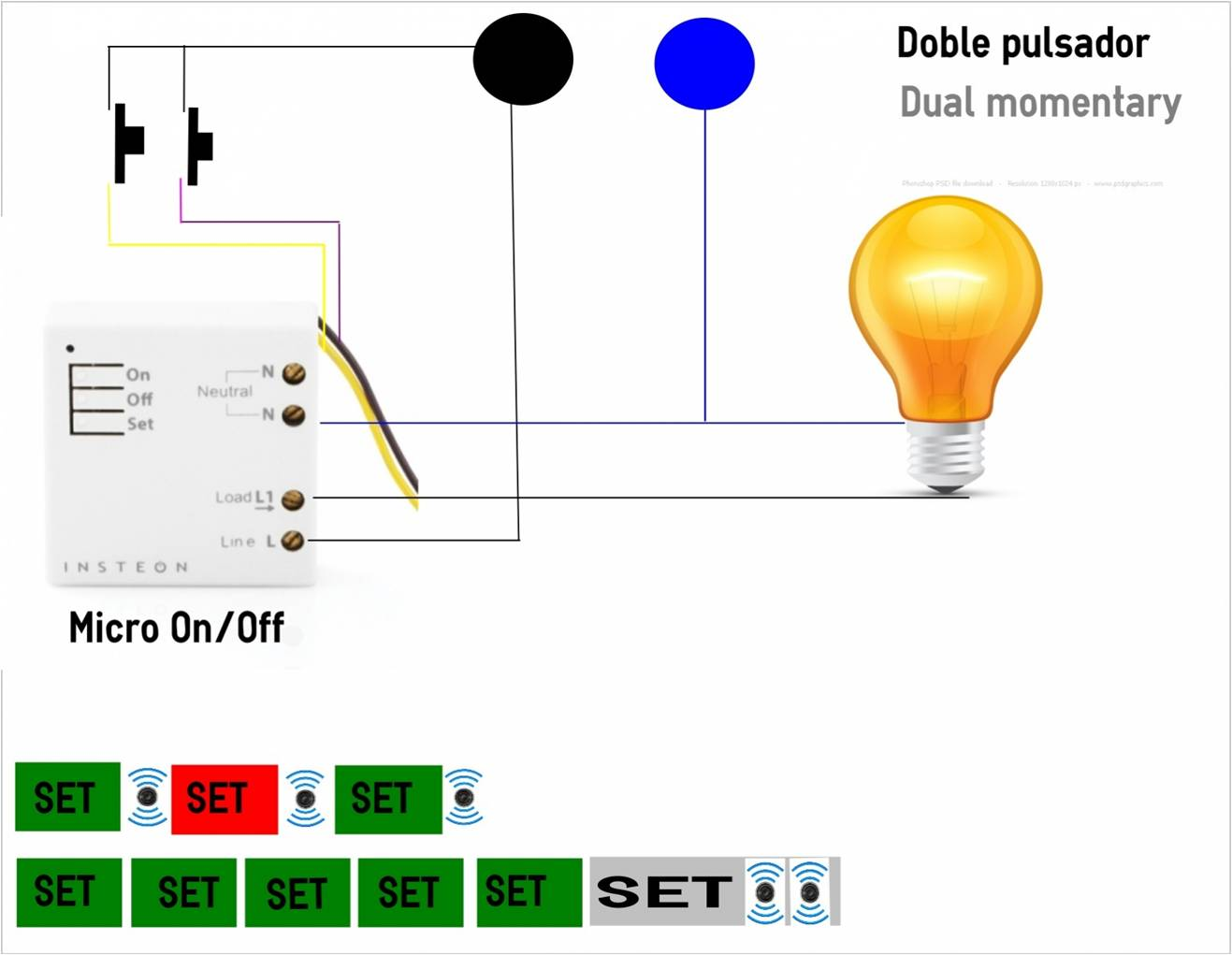 Micromodulo Insteon On/Off  controlado mediante doble pulsador