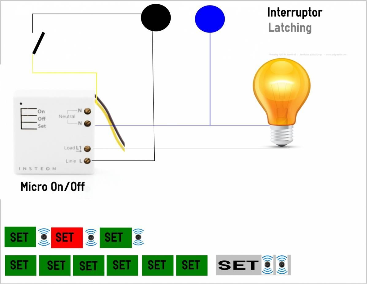 Micro Insteon On/Off con Interruptor o conmutador.