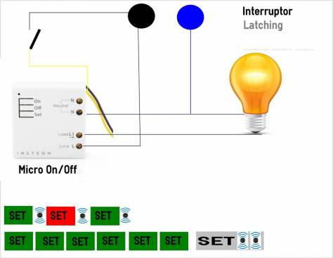Micro Insteon On/Off con  Interruptor o conmutador.
