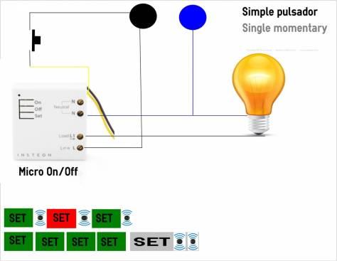Micromodulo Insteon OnOff controlado mediante simple pulsador