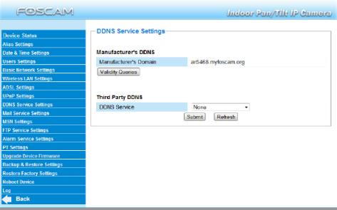 Servidor DNS  cámara Foscam